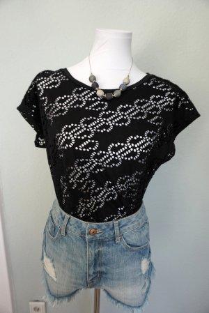 Laura Torelli Gehaakt shirt zwart Polyester