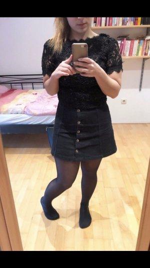 Zara Camisa de ganchillo negro
