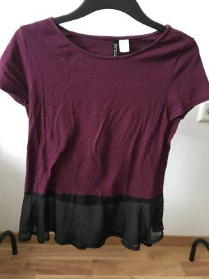 Tshirt mit Volant in Rotwein