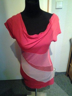 Tshirt - pink - Wasserfall - gestreift - Pailletten - Größe 38