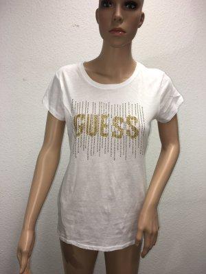 Guess T-shirt bianco-oro Cotone
