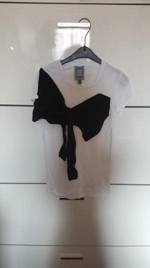 tshirt weiß mit schwarzer schleife mango xs