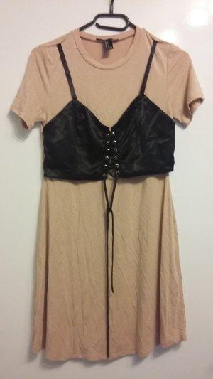 Forever 21 Shirt Dress black-dusky pink