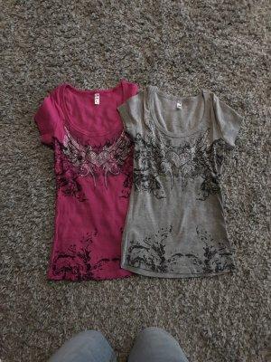 Tshirts 2ST mit Strass neu sehr guter Zustand Größe S/M grau und pink