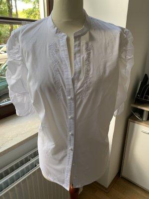 Spieht & Wensky Blusa de cuello alto blanco