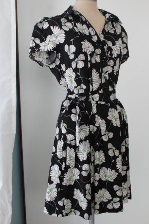 Tu Kleid schwarz kurzarm Magariten Blumen Sommerkleid kurz 36 S UK 8 retro kurz