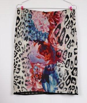 Tube Stretch Rock Minirock Marc Cain Größe N4 M 40 Leo Rosen Strick Jaquard Muster Schurwolle Leoparden Schwarz Creme Rosa Rot Blau Skirt