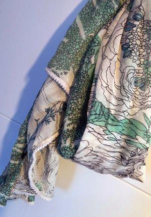 Pieces Fazzoletto da collo beige chiaro-verde-grigio Fibra tessile