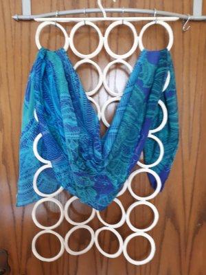 Tuch blau türkis mit Stickerei