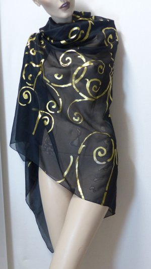 Shoulder Scarf black-gold-colored polyester