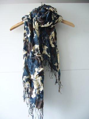 Tuch Halstuch Camouflage wollweiß dunkelblau dunkelbraun