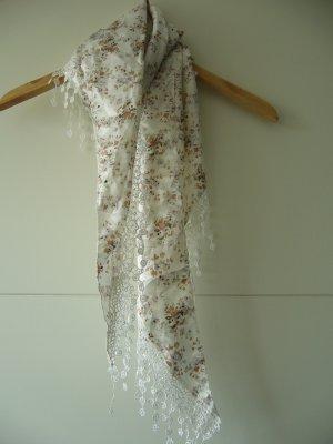 Tuch Halstuch Dreieckstuch glänzend weiß floraler Print flieder grün braun Häkel