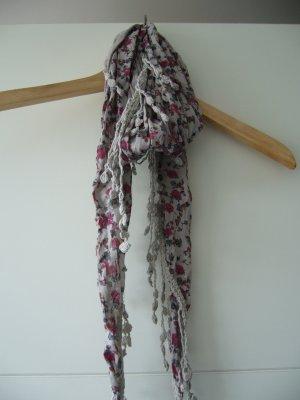Tuch Halstuch Dreieckstuch grau floral rosa dunkelgrau
