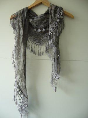 Tuch Halstuch Dreieckstuch grau Häkel Spitze floral