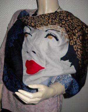 Tuch Halstuch Schal mehrfarbig Comic Face Gesicht Leo Leopard Spitze blau weiß rot camel