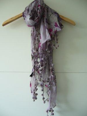 Tuch Halstuch violett lila floral braun pink weiß