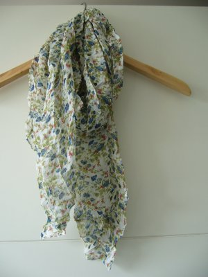 Tuch Halstuch weiß floral blau rot grün transparent