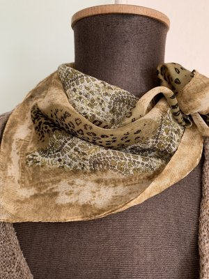 Tuch in Seiden Look Chiffon Leoparden Muster