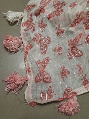 Codello Foulard blanc-rose coton