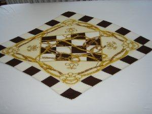 Tuch / Schal aus 100% Seide, dunkelbraun / gold / weiß