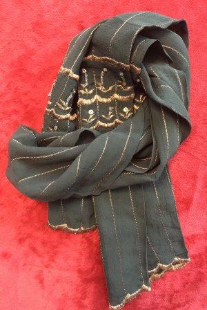 Noa Noa Bufanda de seda verde oscuro-color bronce Seda