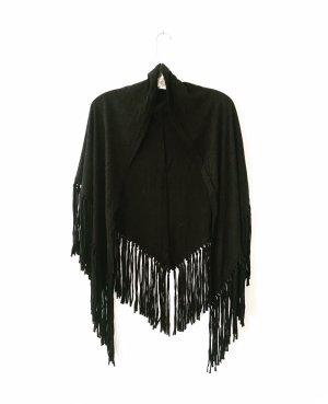 Vintage Bufanda de flecos negro