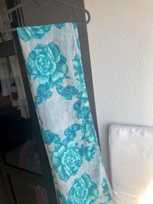 Tuch, Schal mit Blumen grau/türkis