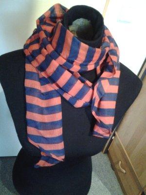 Tuch/Schal - rot-blau gestreift