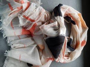 Tuch Schal schwarz orange creme gemustert
