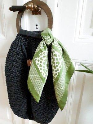 Vintage Fazzoletto da collo bianco-verde prato