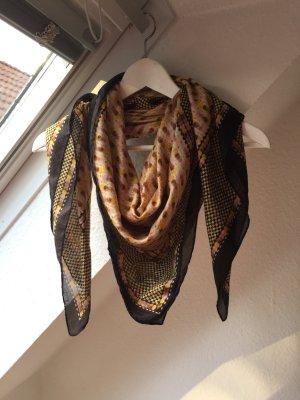Tuch von H&M, schwarz-gold-braun, quadratisch.