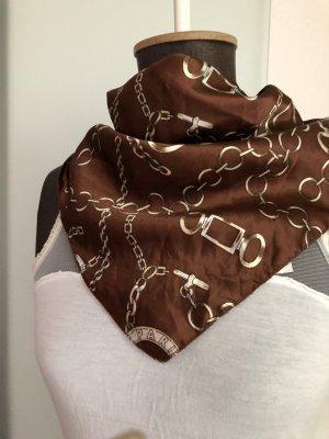 Tuck in Seiden Optik mit Ketten Muster braun-weiß