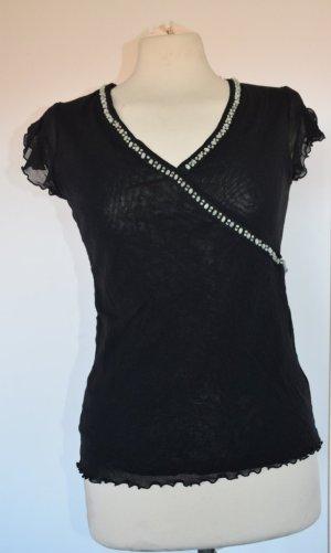 Tüll Shirt mit Holzperlen in Schwarz - neu