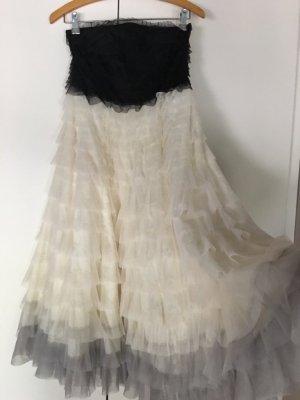 Tüllkleid Rüschenkleid Midikleid Carrie Bradshaw Abiball Hochzeit nude schwarz zara asos