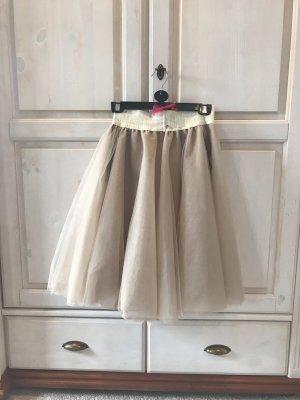 Falda de tul beige-camel