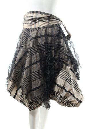 Tüllrock hellbeige-schwarz Karomuster extravaganter Stil