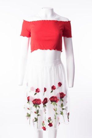 Tüllrock mit Rosenstickerei Weiß Rot Gr. S-M NEU
