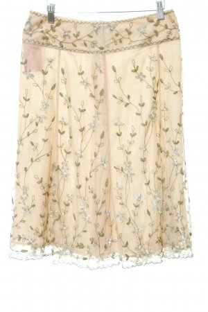 Tulle Skirt nude-olive green floral pattern romantic style