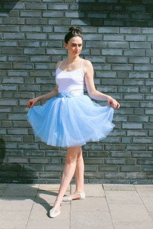 Tüllrock Petticoat Tüll Rock Carrie Bradshaw blau hellblau XS S 34 36 Rockabilly Pinup