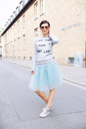 Plaid Skirt silver-colored-baby blue