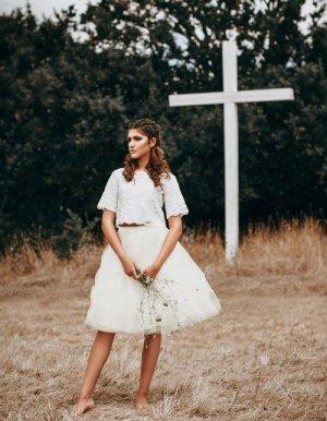 Falda de tul blanco elegante