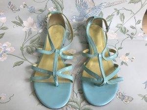 Türkiese Riemchen-Sandalen aus Lackleder