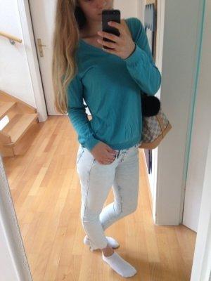 türkis, blauer Strickpullover von Zara, Größe S 36,