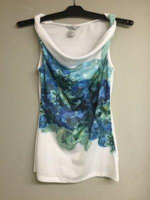 türkis farbenes Sommer Shirt mit Wasserfall Kragen