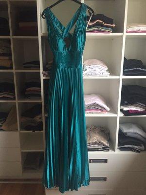 Türkis-glänzendes Kleid mit elegantem Rückenausschnitt