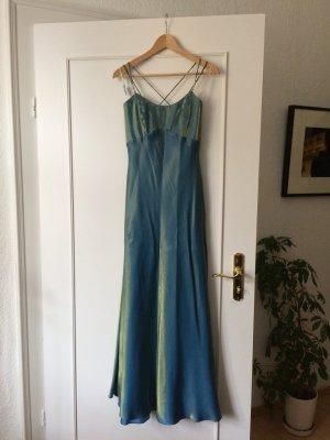 Türkis/Gold/Grün schimmerndes Abendkleid von Vera Mont | 38