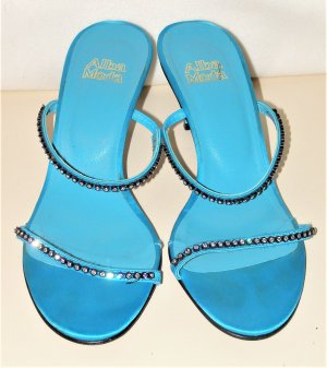 Alba Moda Strapped High-Heeled Sandals turquoise-silver-colored