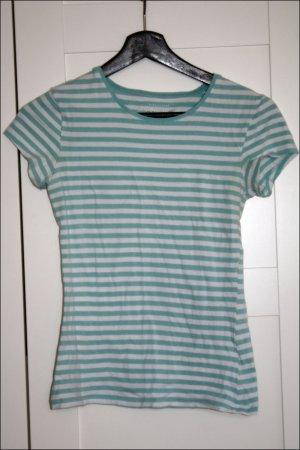 türkis/weiß gestreiftes Tshirt