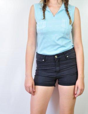 Türkisblaues Top mit Taschen und Kragen