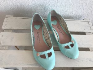 Promod Patent Leather Ballerinas turquoise